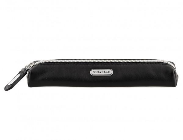 black leather pencil case front