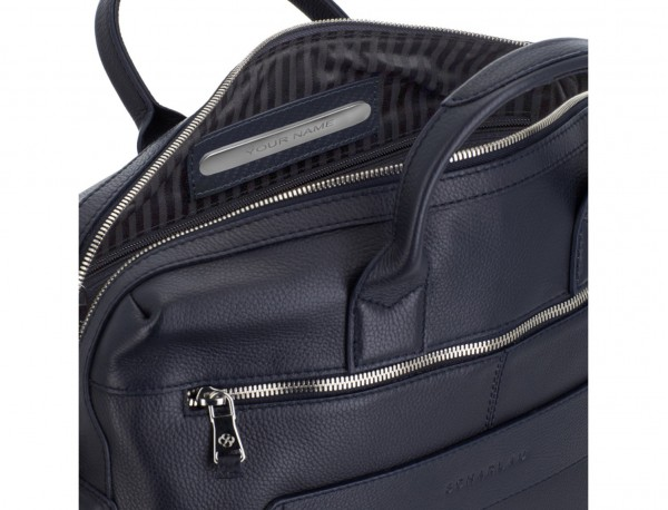 Leather briefbag in blue personalized
