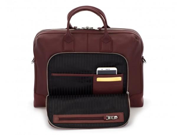maletín de piel burdeos bolsillo