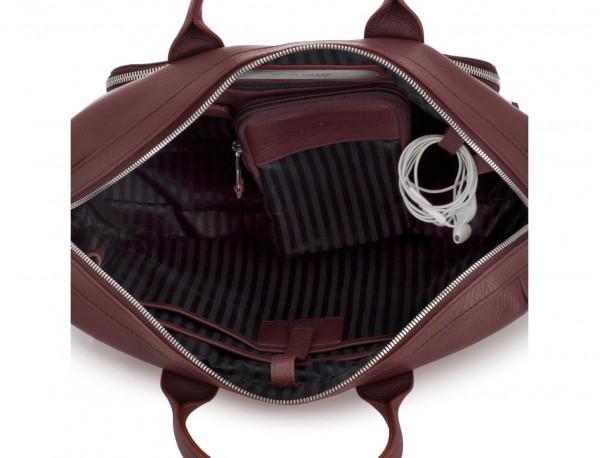 Cartella in pelle in bordeaux metal plate