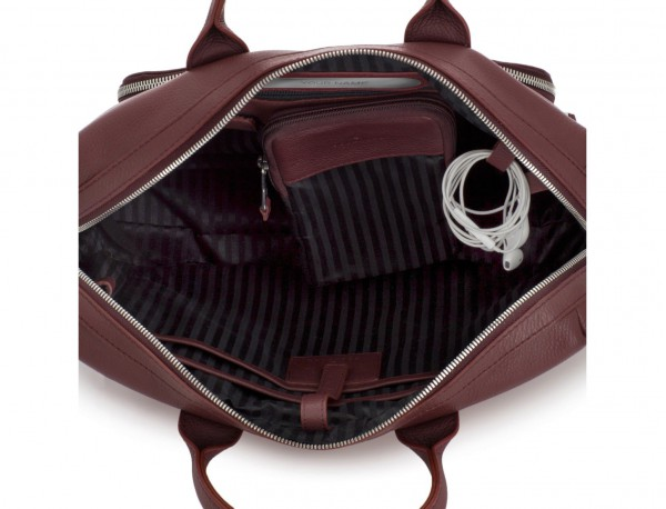 maletín de piel burdeos interior