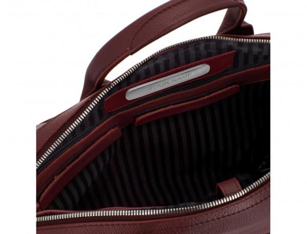 maletín de piel burdeos personalizado