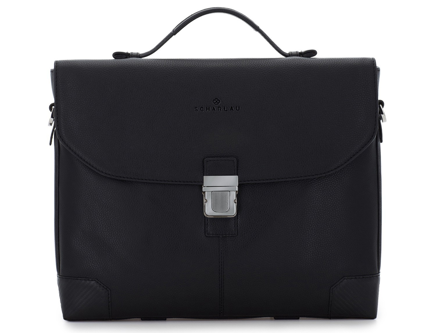 leather flap briefbag in black front
