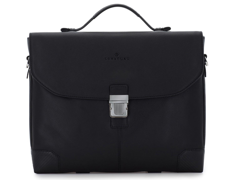 maletín de cuero con solapa color negro frontal