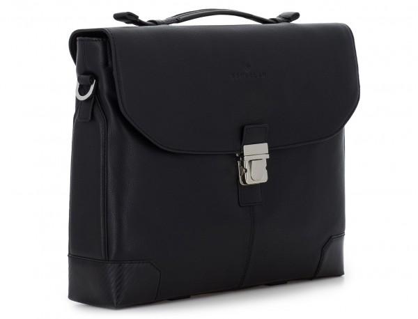 maletín de cuero con solapa color negro lado
