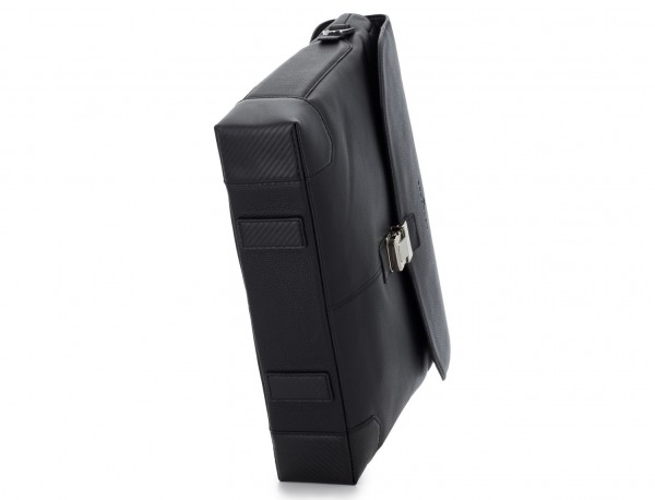maletín de cuero con solapa color negro base