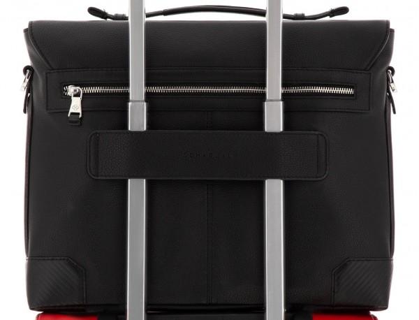 leather flap briefbag in black trolley
