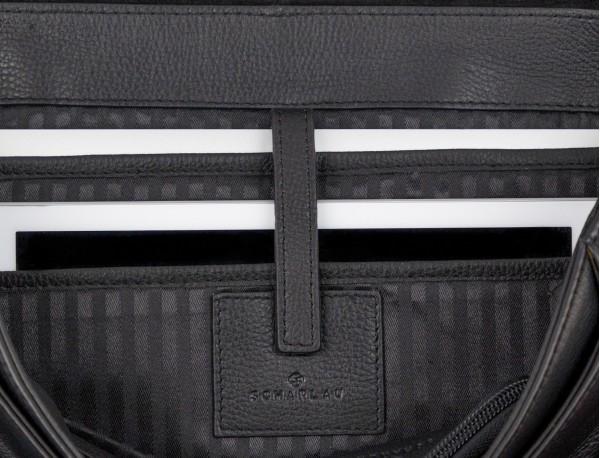 Cartella con patta in pelle nera laptop
