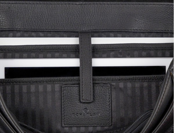 leather flap briefbag in black laptop