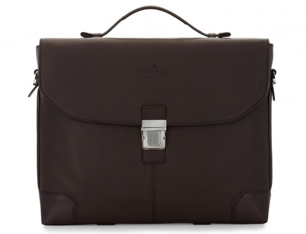 leather flap briefbag in brown front