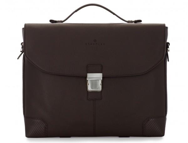 maletín de cuero con solapa color marrón frontal