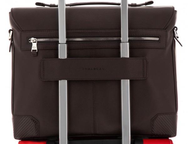 maletín de cuero con solapa color marrón trolley