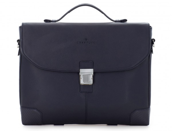 leather flap briefbag in blue front