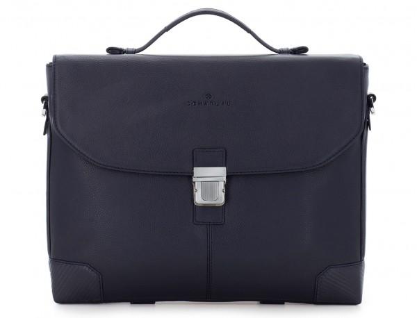 maletín de cuero con solapa color azul frontal