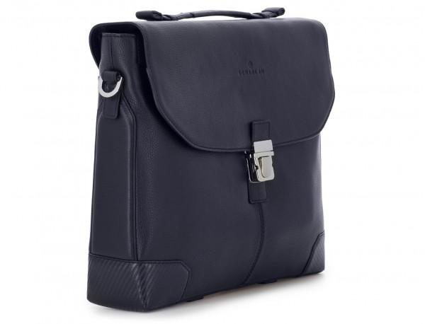 maletín de cuero con solapa color azul lado