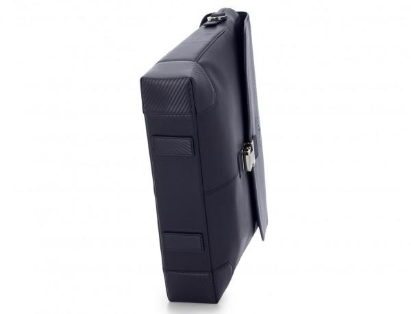 maletín de cuero con solapa color azul base