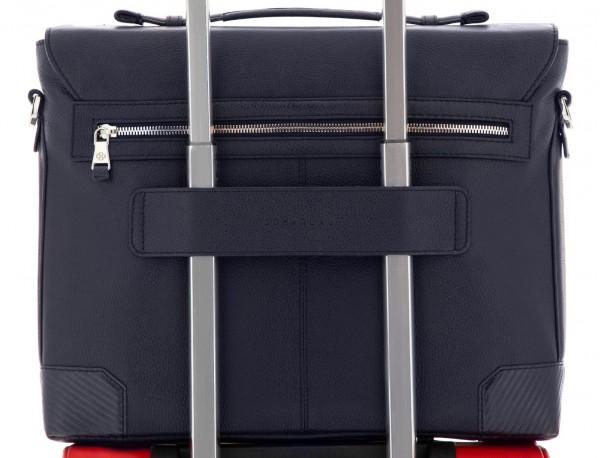 maletín de cuero con solapa color azul trolley