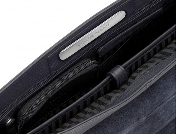 leather flap briefbag in blue inside