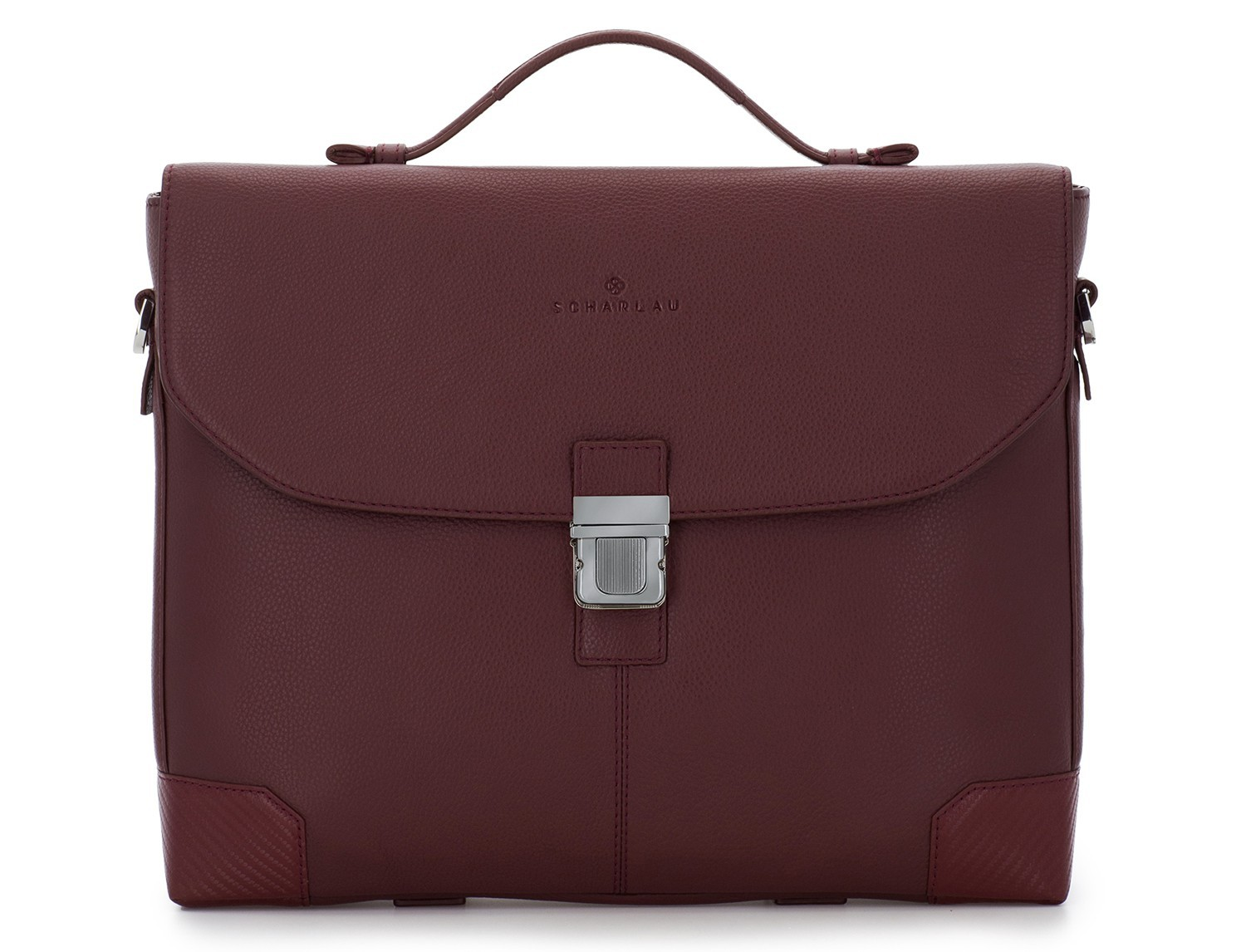 leather flap briefbag in burgundy front