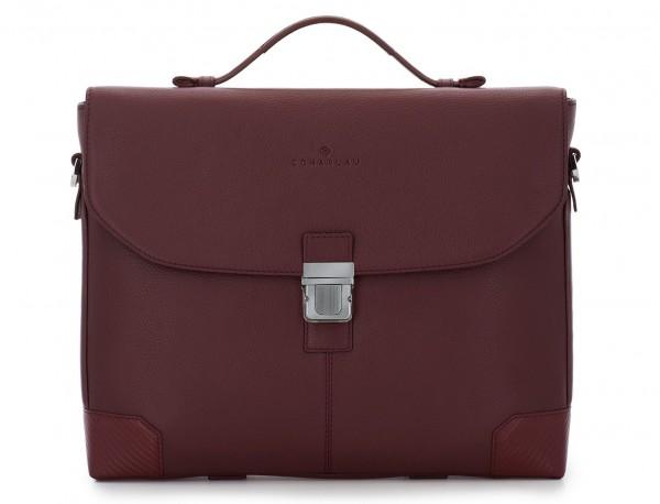 maletín de cuero con solapa color burdeos frontal