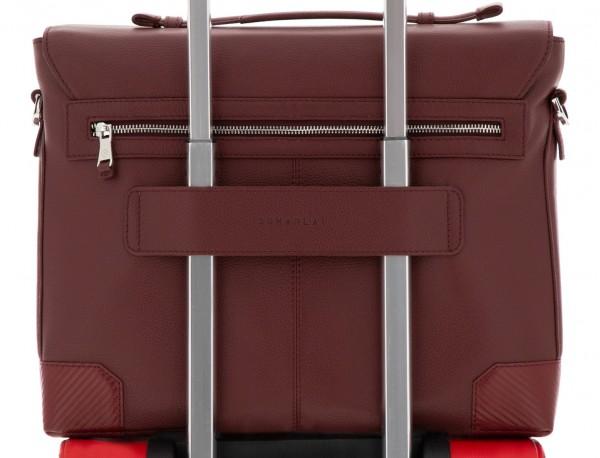 leather flap briefbag in burgundy trolley