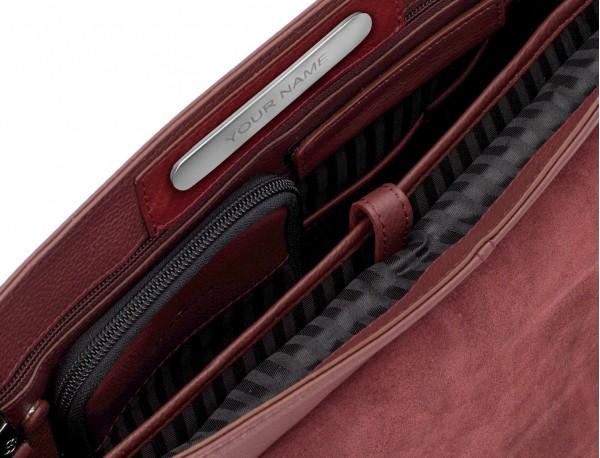 leather flap briefbag in burgundy  metal plate