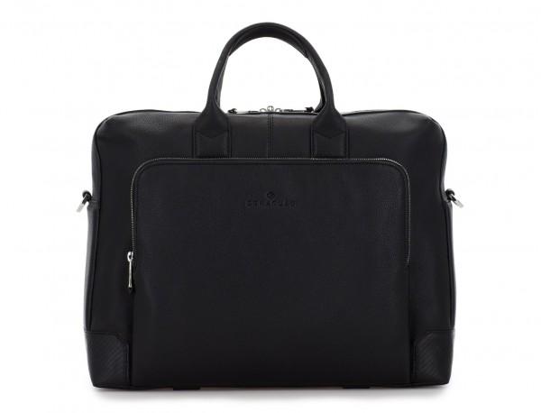 Cartella grande 2 scomparto in pelle per laptop in nero front