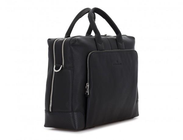 maletín de viaje de piel en color negro lado