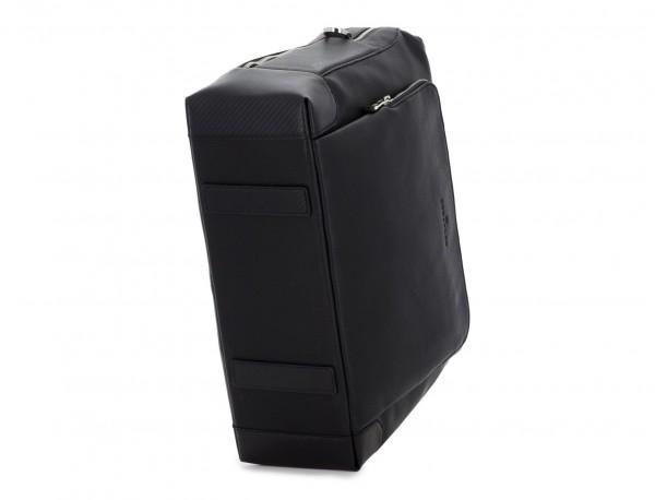 Cartella grande 2 scomparto in pelle per laptop in nero base