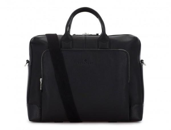 Cartella grande 2 scomparto in pelle per laptop in nero strap
