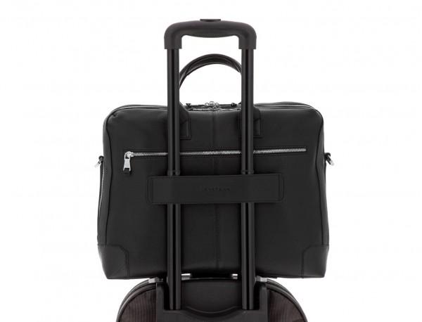 Cartella grande 2 scomparto in pelle per laptop in nero trolley