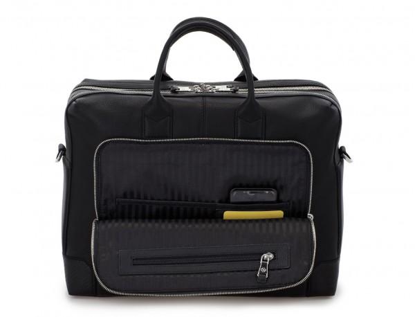 Cartella grande 2 scomparto in pelle per laptop in nero inside