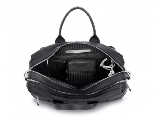 maletín de viaje de piel en color negro abierto