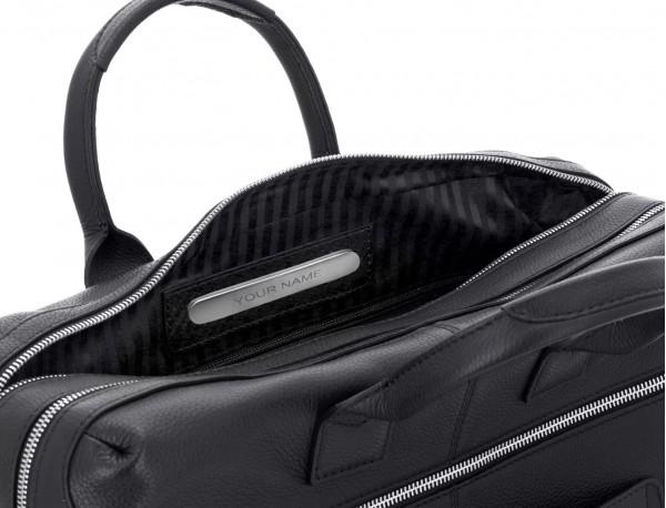 Cartella grande 2 scomparto in pelle per laptop in nero personalized