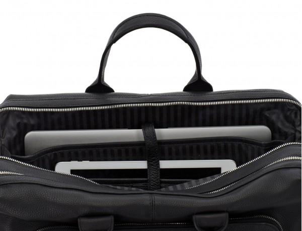 Cartella grande 2 scomparto in pelle per laptop in nero laptop