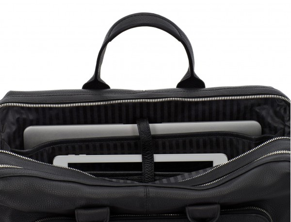 maletín de viaje de piel en color negro ordenador
