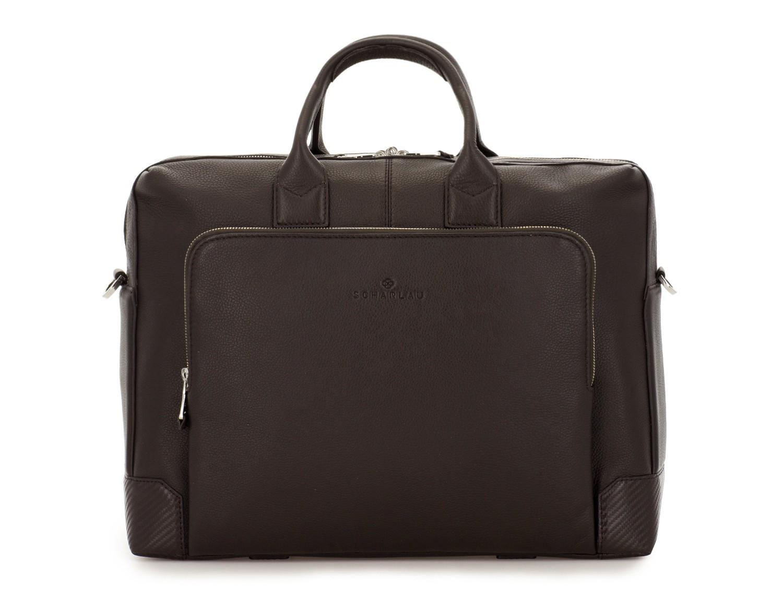 Cartella grande 2 scomparto in pelle per laptop in marrone front