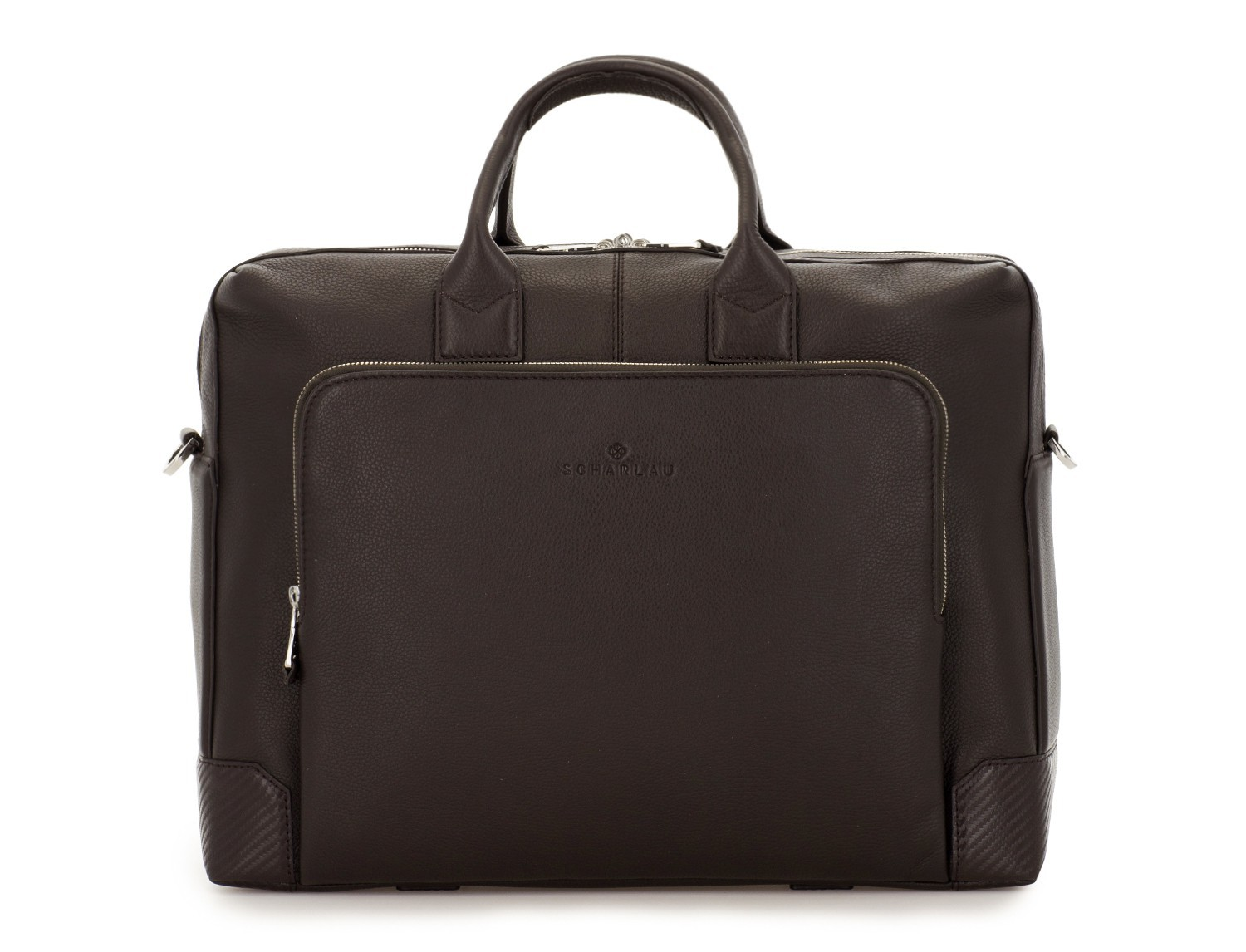 travel briefbag in leather brown front