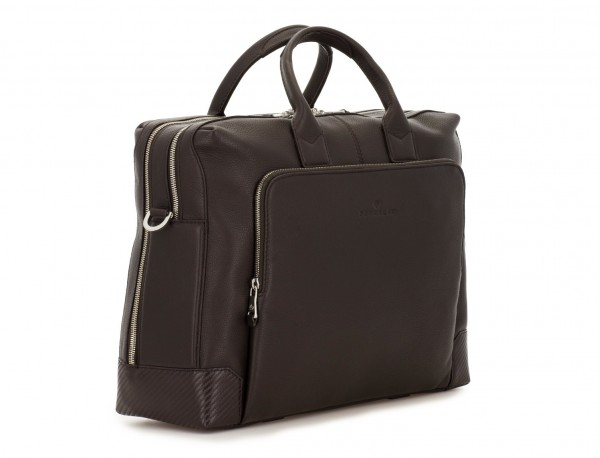 Cartella grande 2 scomparto in pelle per laptop in marrone  side