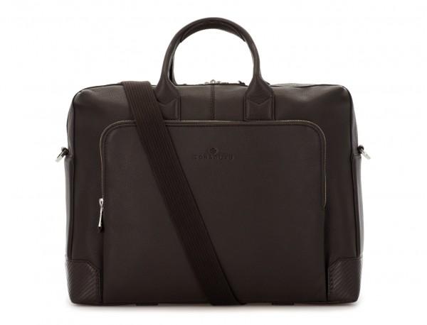 Cartella grande 2 scomparto in pelle per laptop in marrone strap