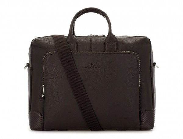 travel briefbag in leather brown strap