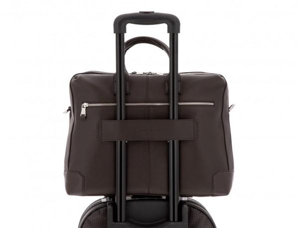 Cartella grande 2 scomparto in pelle per laptop in marrone trolley