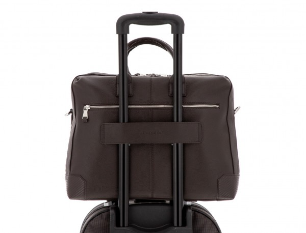 travel briefbag in leather brown trolley