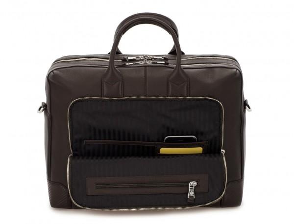 Cartella grande 2 scomparto in pelle per laptop in marrone inside