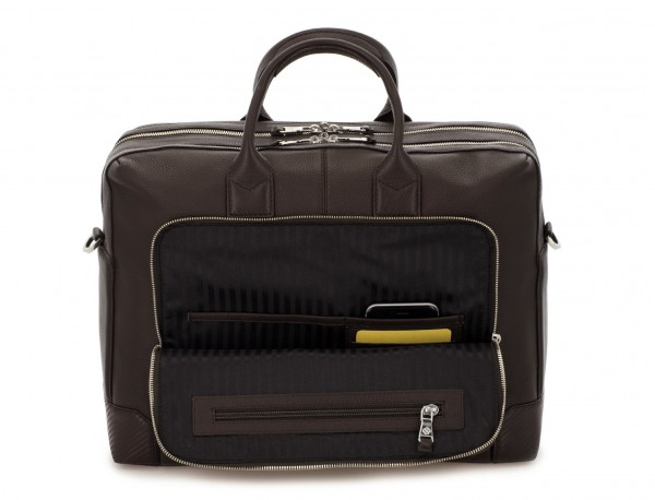 travel briefbag in leather brown pockets