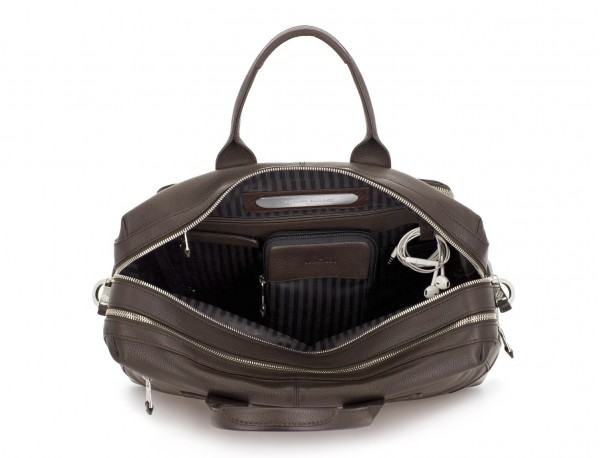 travel briefbag in leather brown inside