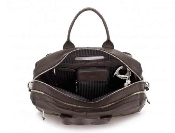 maletín de viaje de piel en color marrón interior