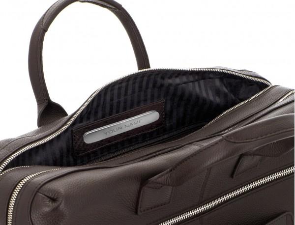 Cartella grande 2 scomparto in pelle per laptop in marrone metal plate