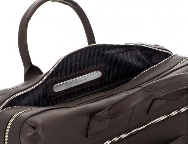 travel briefbag in leather brown personalized