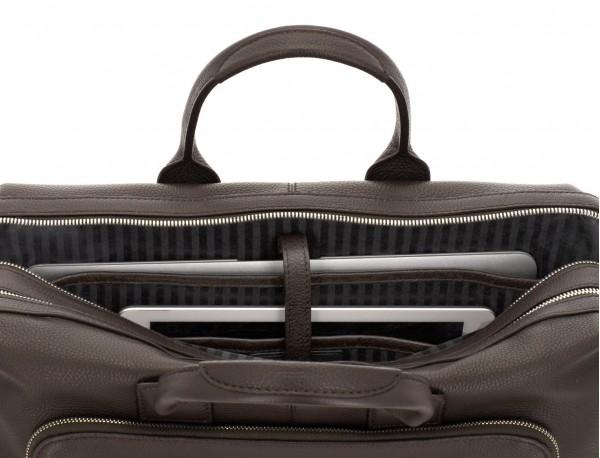 Cartella grande 2 scomparto in pelle per laptop in marrone computer